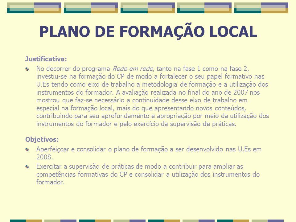 PLANO DE FORMAÇÃO LOCAL