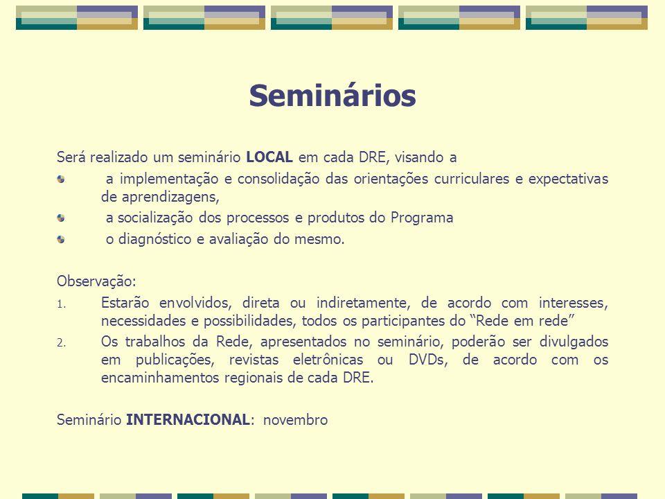 Seminários Será realizado um seminário LOCAL em cada DRE, visando a