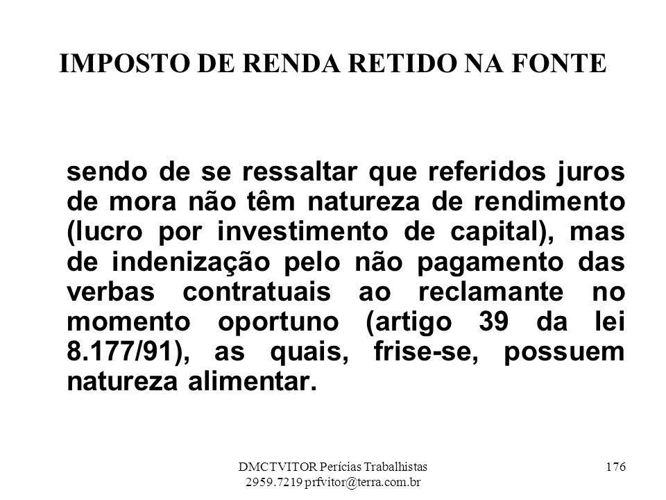 IMPOSTO DE RENDA RETIDO NA FONTE