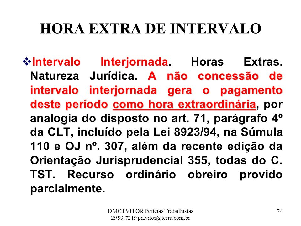 HORA EXTRA DE INTERVALO