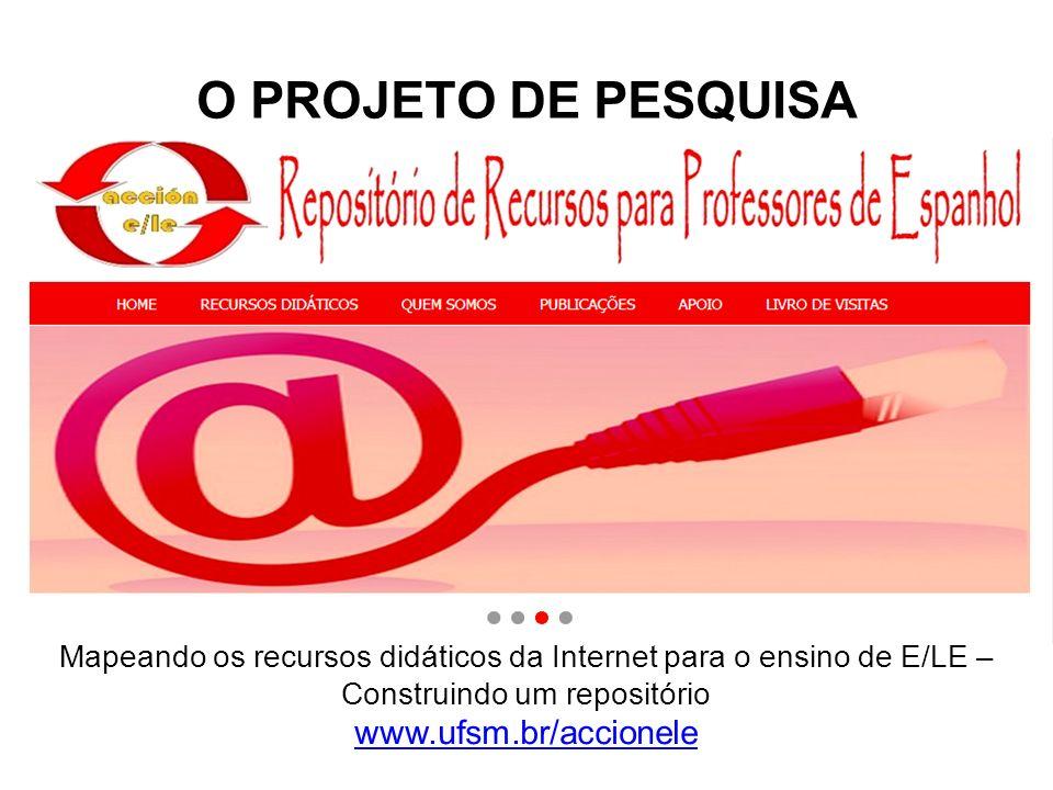 O PROJETO DE PESQUISA Mapeando os recursos didáticos da Internet para o ensino de E/LE – Construindo um repositório www.ufsm.br/accionele.