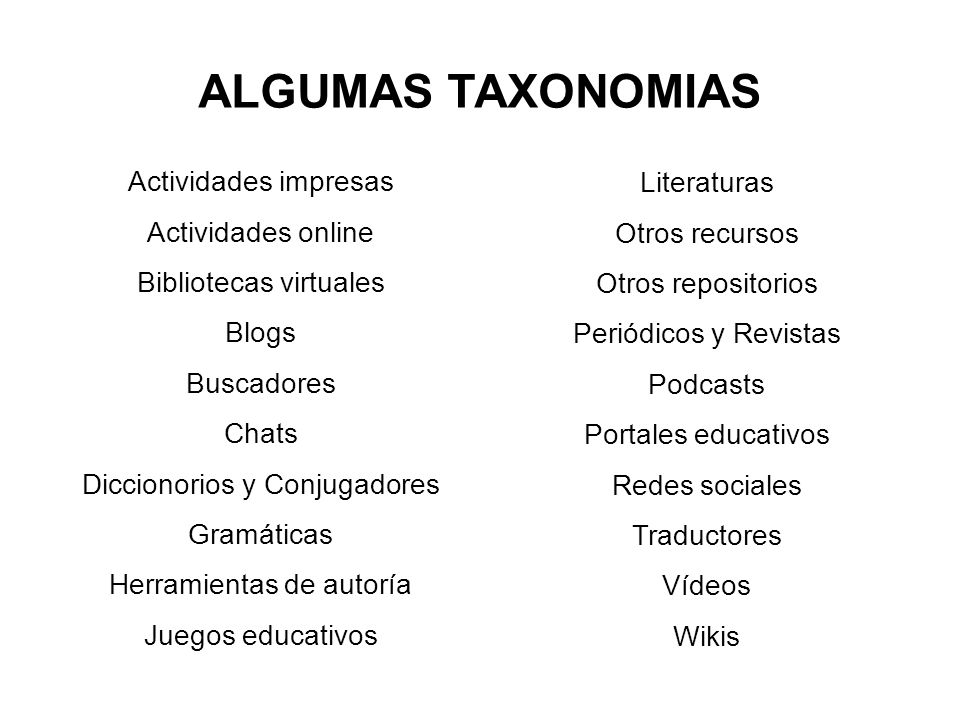 ALGUMAS TAXONOMIAS Actividades impresas Actividades online