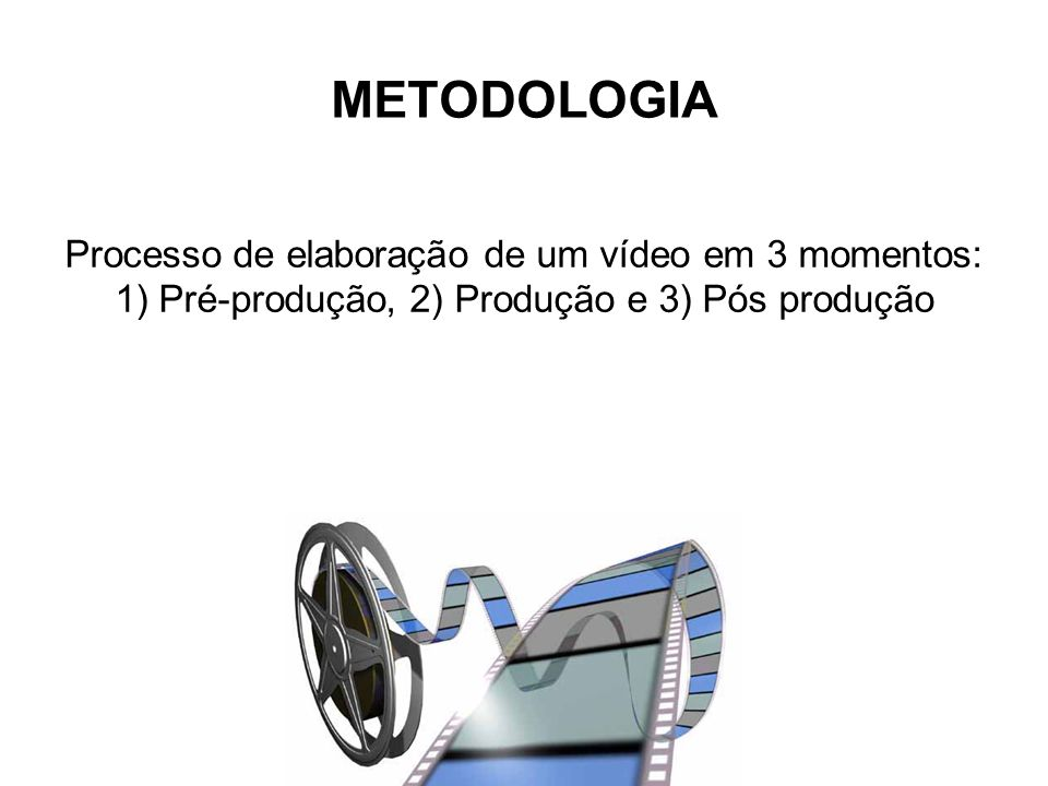 METODOLOGIA Processo de elaboração de um vídeo em 3 momentos: 1) Pré-produção, 2) Produção e 3) Pós produção.
