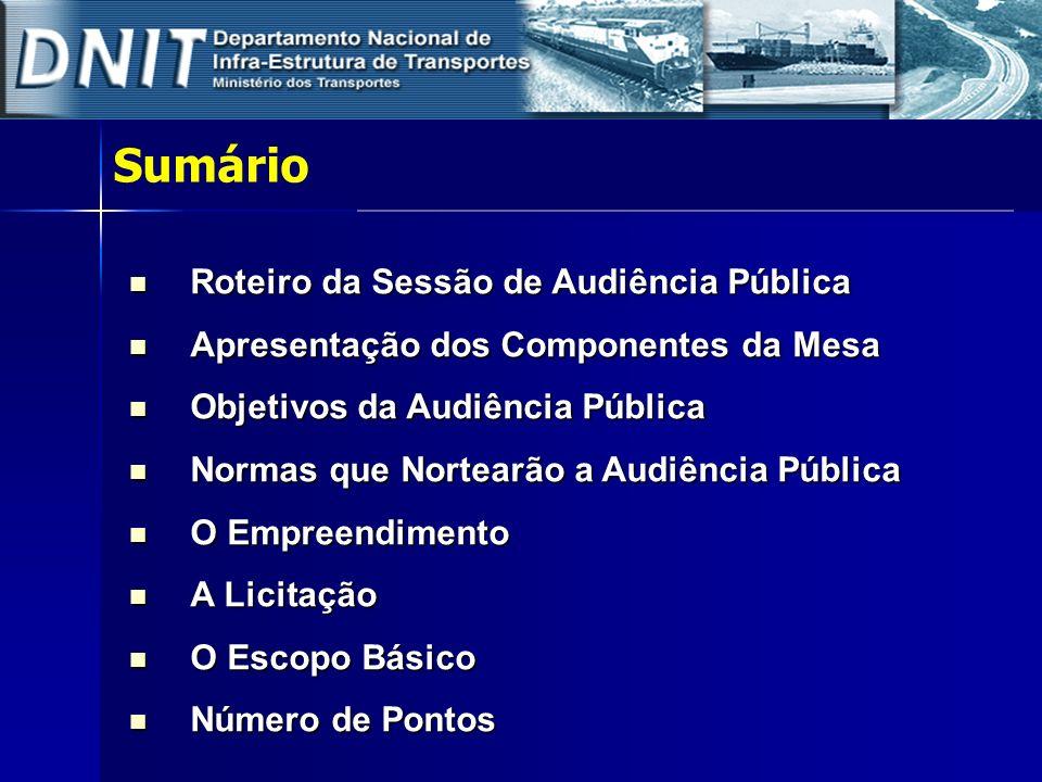 Sumário Roteiro da Sessão de Audiência Pública