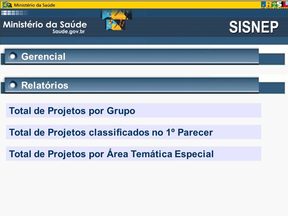 Gerencial Relatórios. Total de Projetos por Grupo. Total de Projetos classificados no 1º Parecer.