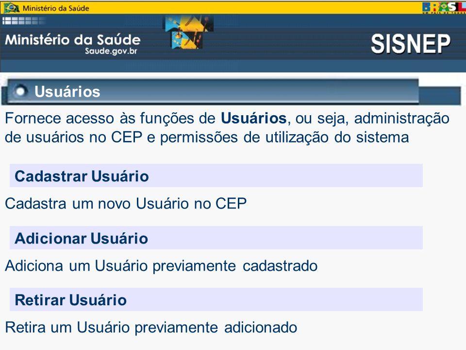 Usuários Fornece acesso às funções de Usuários, ou seja, administração de usuários no CEP e permissões de utilização do sistema.