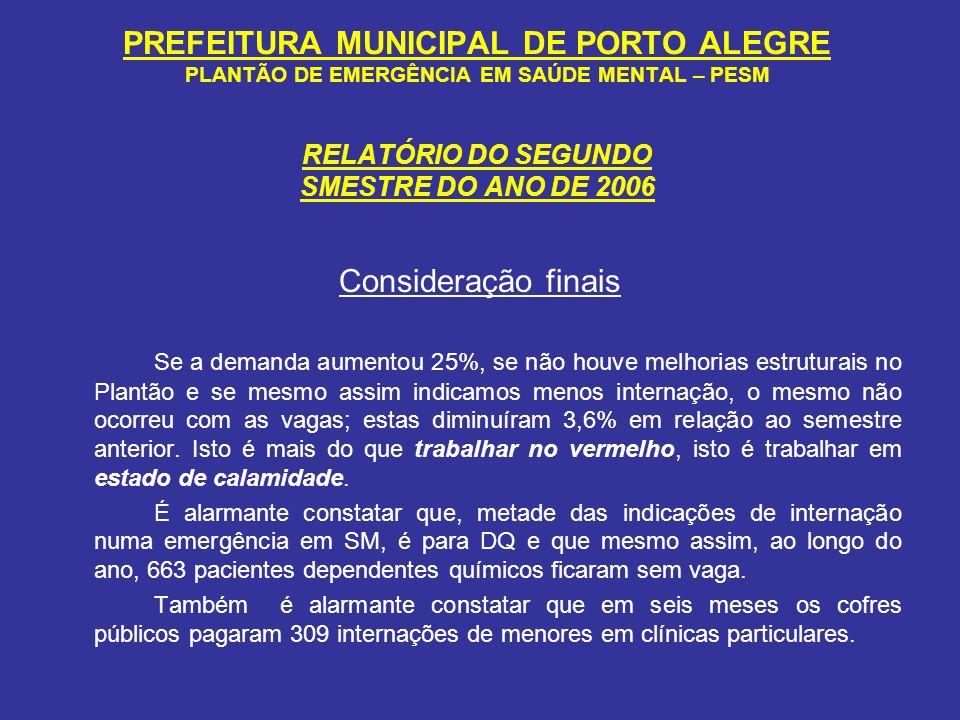 PREFEITURA MUNICIPAL DE PORTO ALEGRE PLANTÃO DE EMERGÊNCIA EM SAÚDE MENTAL – PESM RELATÓRIO DO SEGUNDO SMESTRE DO ANO DE 2006