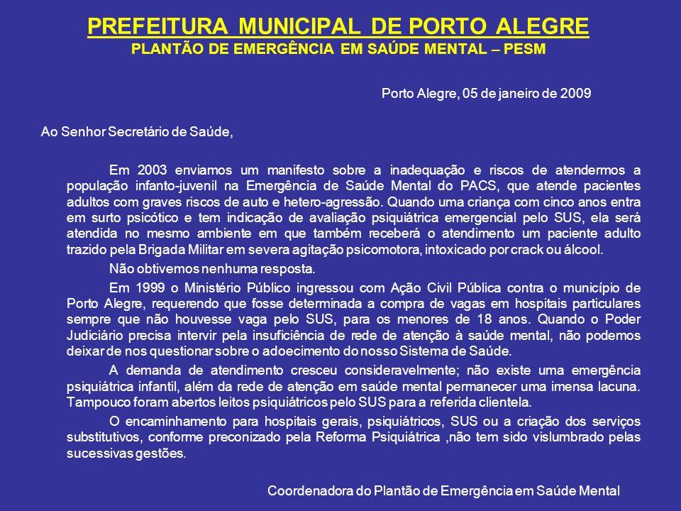 PREFEITURA MUNICIPAL DE PORTO ALEGRE PLANTÃO DE EMERGÊNCIA EM SAÚDE MENTAL – PESM