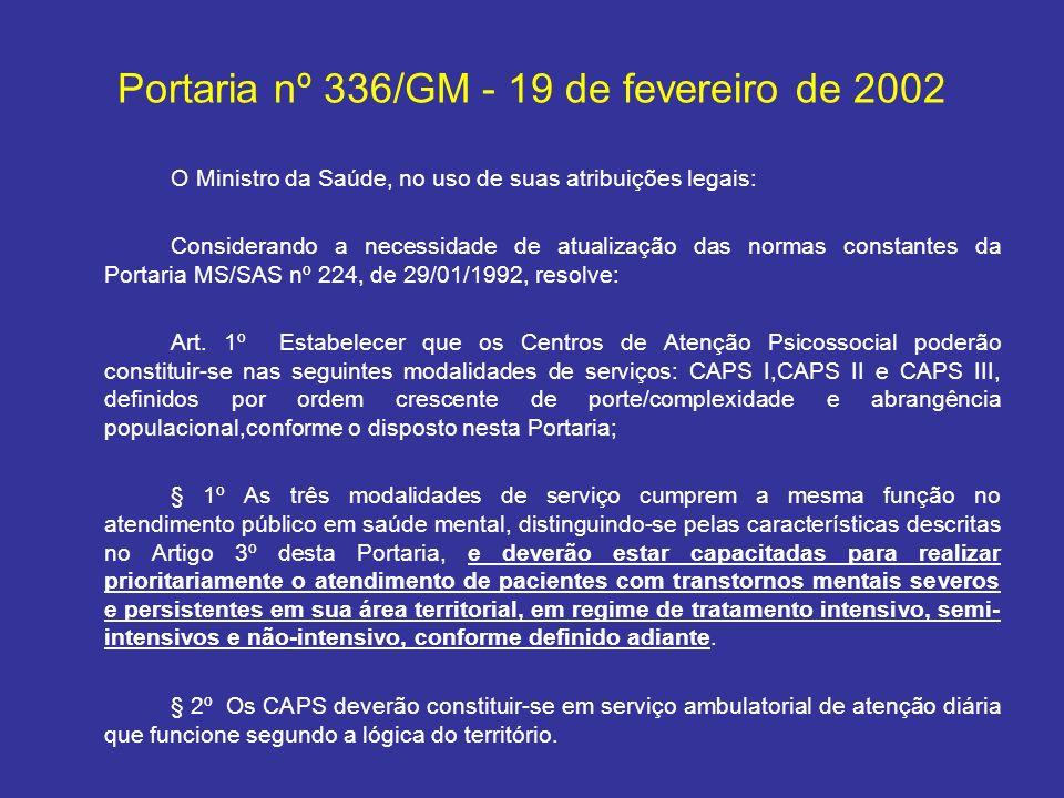 Portaria nº 336/GM - 19 de fevereiro de 2002