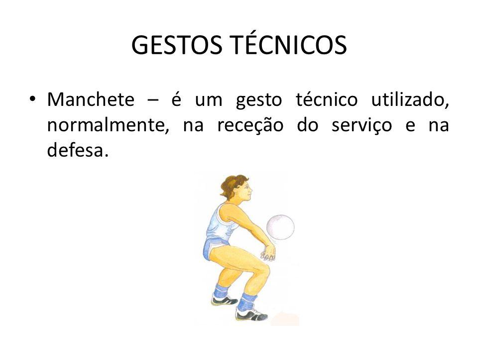 GESTOS TÉCNICOS Manchete – é um gesto técnico utilizado, normalmente, na receção do serviço e na defesa.