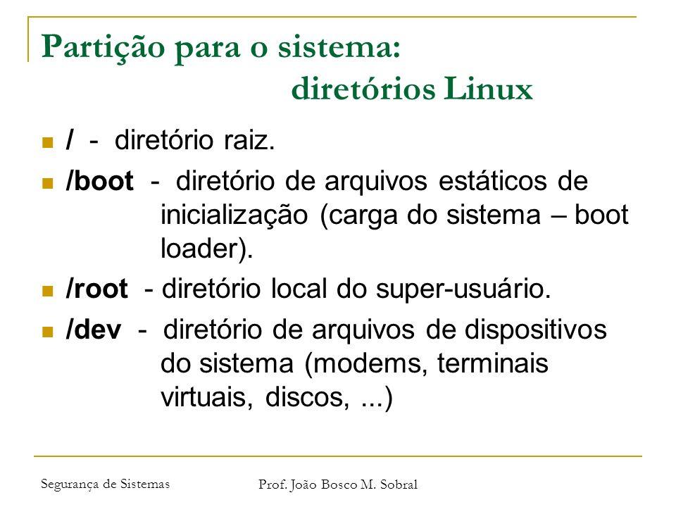 Partição para o sistema: diretórios Linux