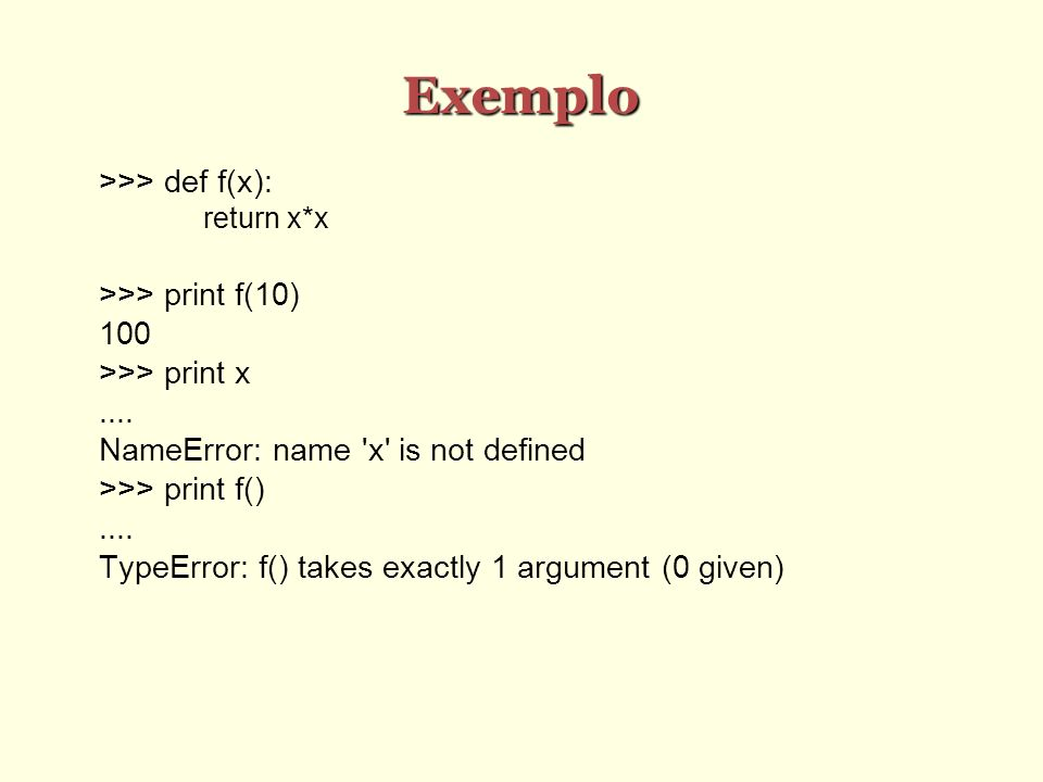 Exemplo >>> def f(x): >>> print f(10) 100