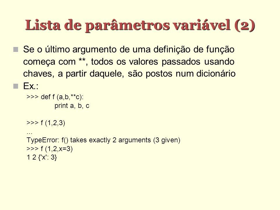 Lista de parâmetros variável (2)