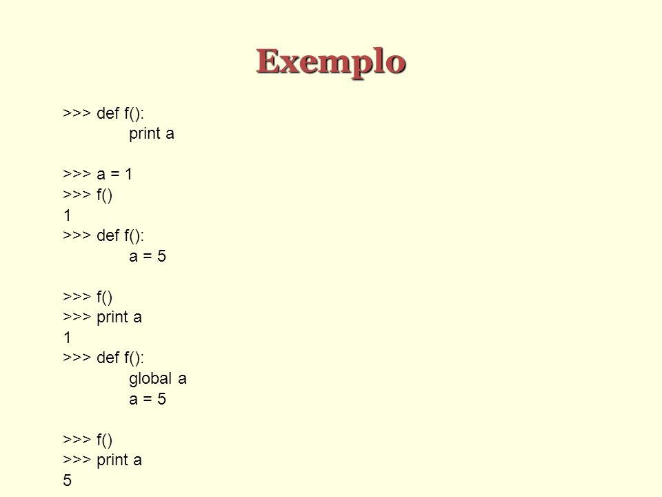 Exemplo >>> def f(): print a >>> a = 1