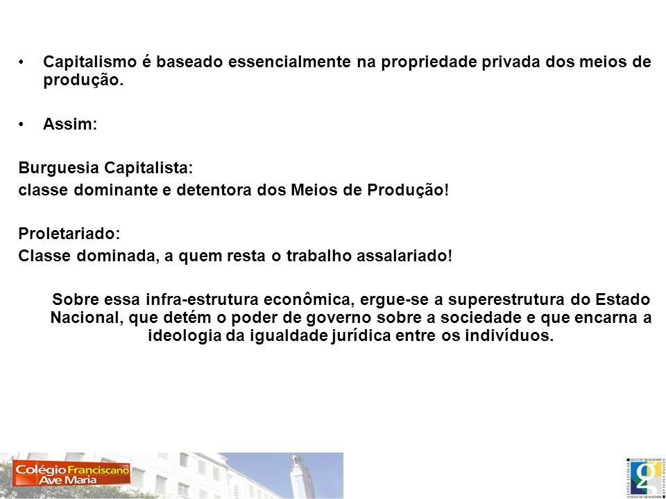 Capitalismo é baseado essencialmente na propriedade privada dos meios de produção.