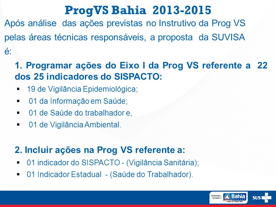 ProgVS Bahia 2013-2015 Após análise das ações previstas no Instrutivo da Prog VS. pelas áreas técnicas responsáveis, a proposta da SUVISA.