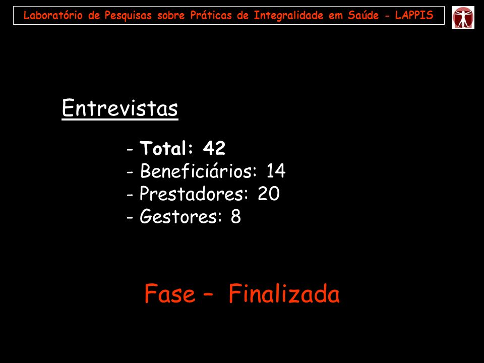 Fase – Finalizada - Beneficiários: 14 - Prestadores: 20 - Gestores: 8
