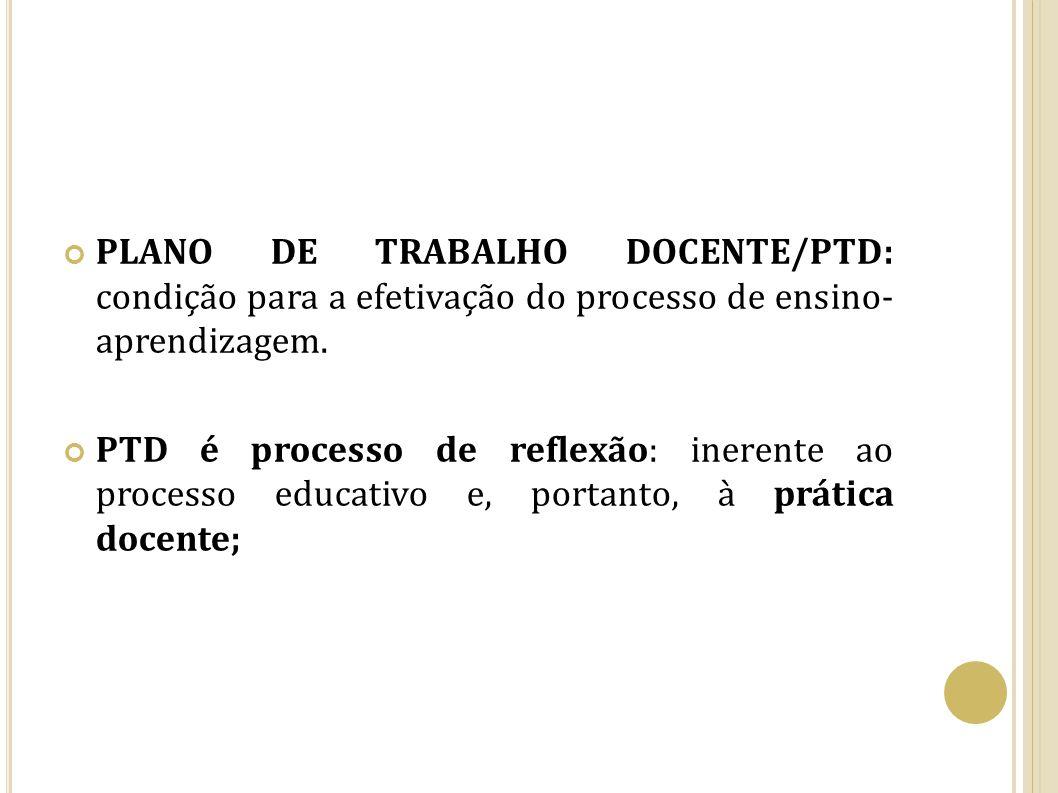 PLANO DE TRABALHO DOCENTE/PTD: condição para a efetivação do processo de ensino- aprendizagem.