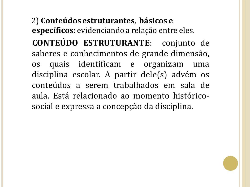 2) Conteúdos estruturantes, básicos e específicos: evidenciando a relação entre eles.