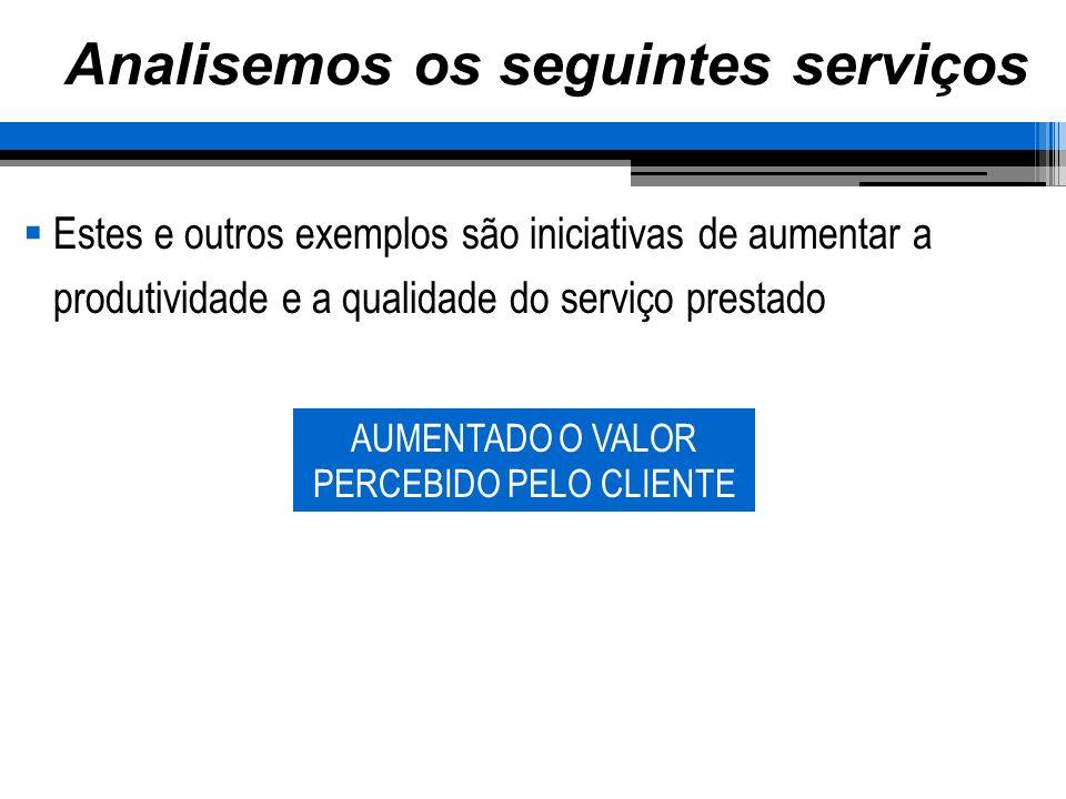 Analisemos os seguintes serviços