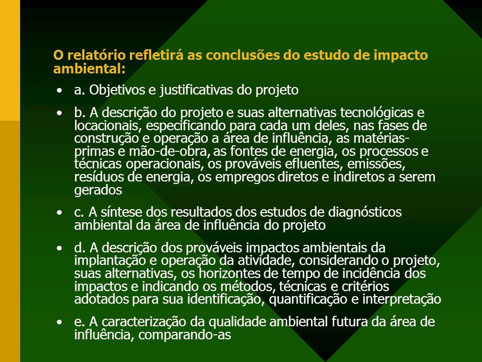 O relatório refletirá as conclusões do estudo de impacto ambiental: