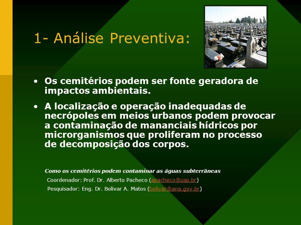 1- Análise Preventiva:Os cemitérios podem ser fonte geradora de impactos ambientais.