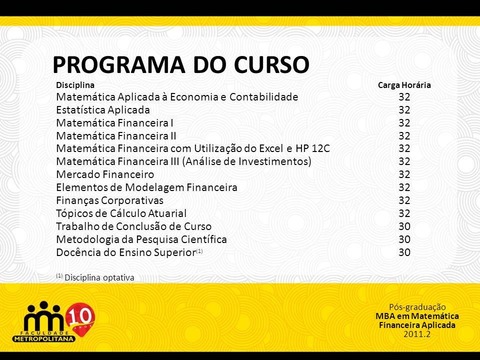 PROGRAMA DO CURSO Matemática Aplicada à Economia e Contabilidade