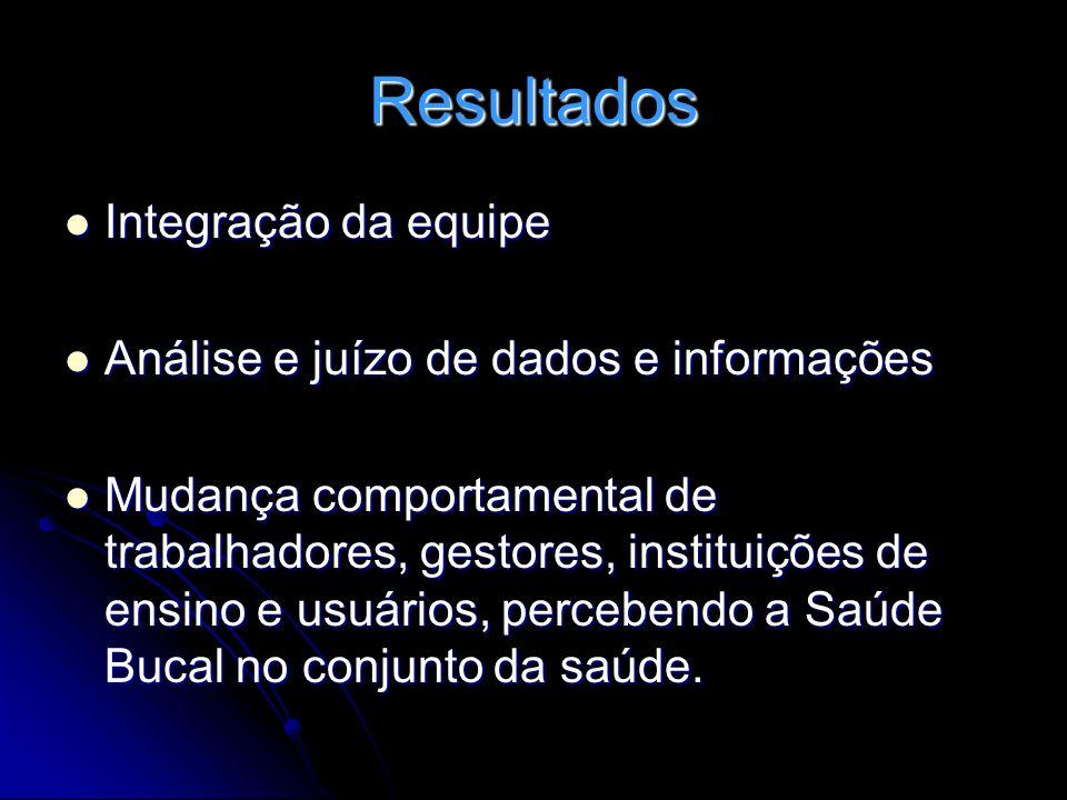Resultados Integração da equipe Análise e juízo de dados e informações