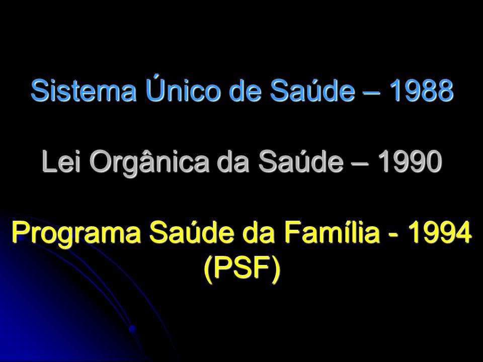 Sistema Único de Saúde – 1988 Lei Orgânica da Saúde – 1990 Programa Saúde da Família - 1994 (PSF)