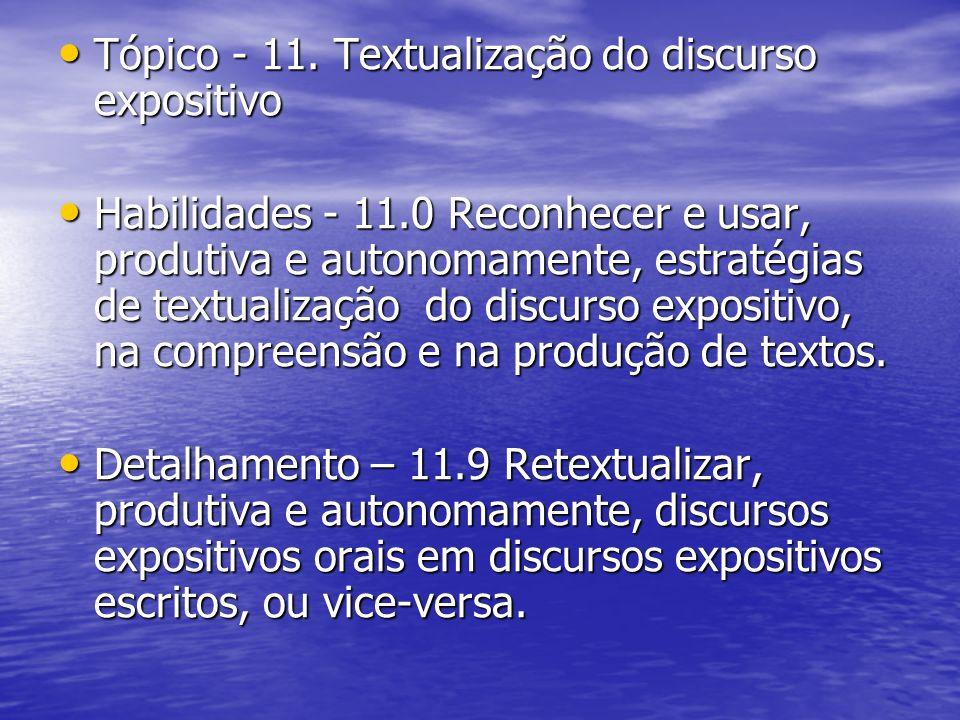 Tópico - 11. Textualização do discurso expositivo