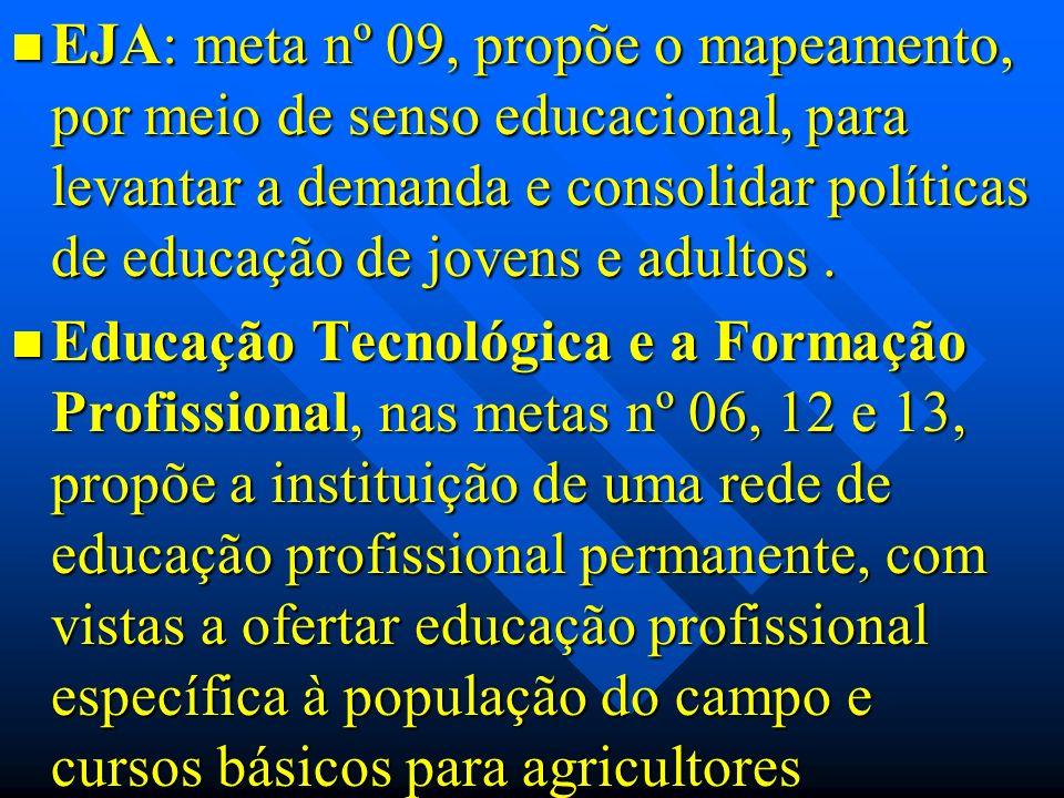 EJA: meta nº 09, propõe o mapeamento, por meio de senso educacional, para levantar a demanda e consolidar políticas de educação de jovens e adultos .