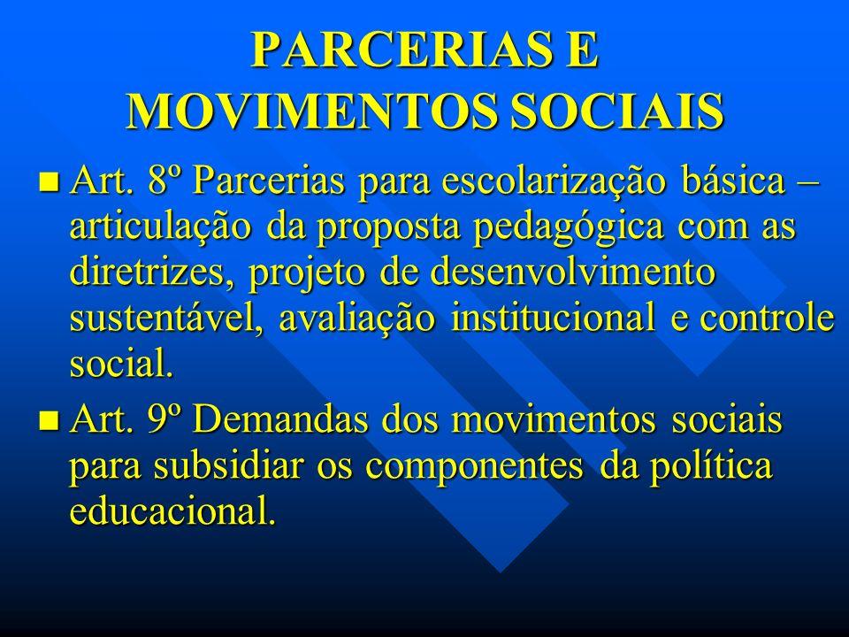 PARCERIAS E MOVIMENTOS SOCIAIS