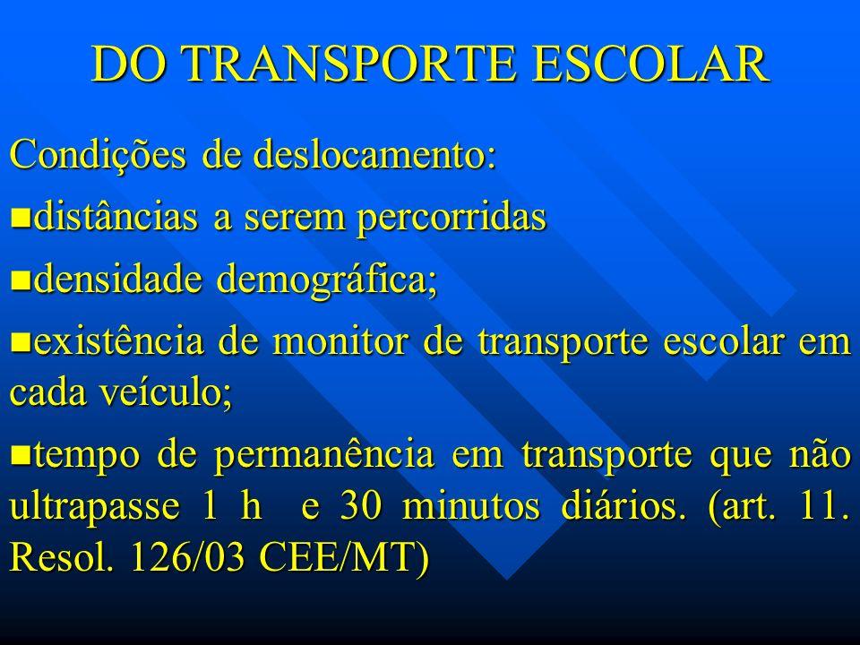 DO TRANSPORTE ESCOLAR Condições de deslocamento: