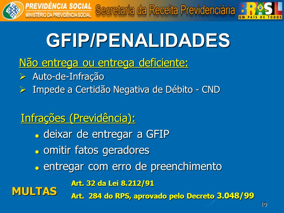 GFIP/PENALIDADES Não entrega ou entrega deficiente: