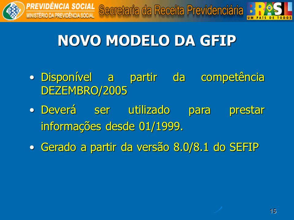 NOVO MODELO DA GFIP Disponível a partir da competência DEZEMBRO/2005