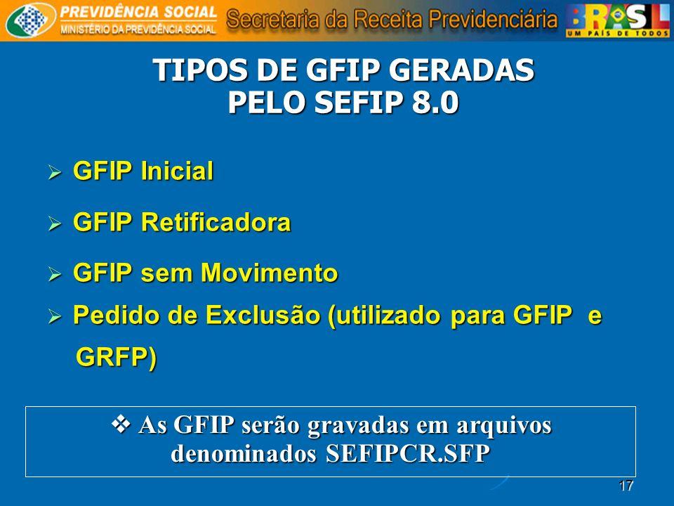 TIPOS DE GFIP GERADAS PELO SEFIP 8.0