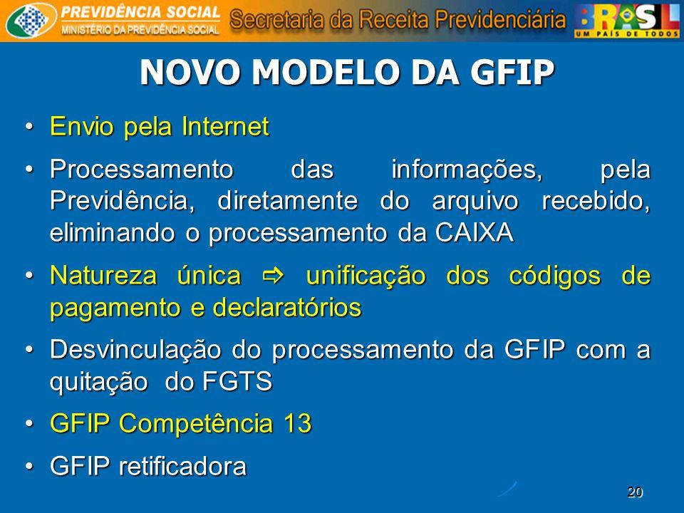 NOVO MODELO DA GFIP Envio pela Internet