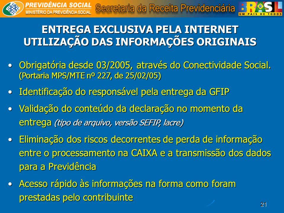 ENTREGA EXCLUSIVA PELA INTERNET UTILIZAÇÃO DAS INFORMAÇÕES ORIGINAIS