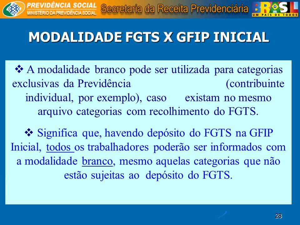MODALIDADE FGTS X GFIP INICIAL