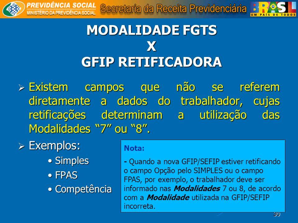 MODALIDADE FGTS X GFIP RETIFICADORA