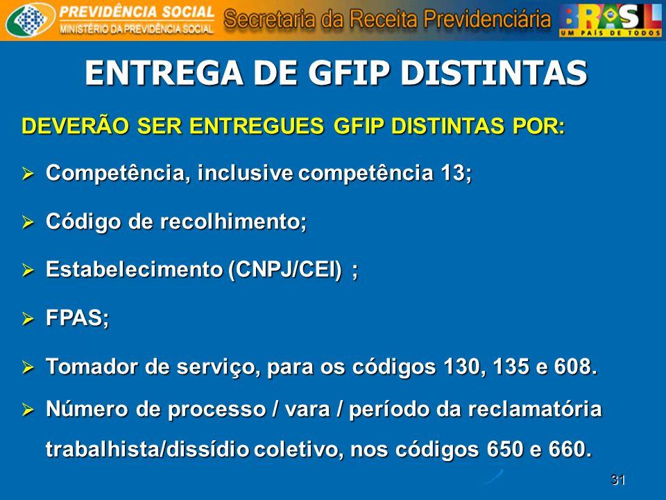 ENTREGA DE GFIP DISTINTAS