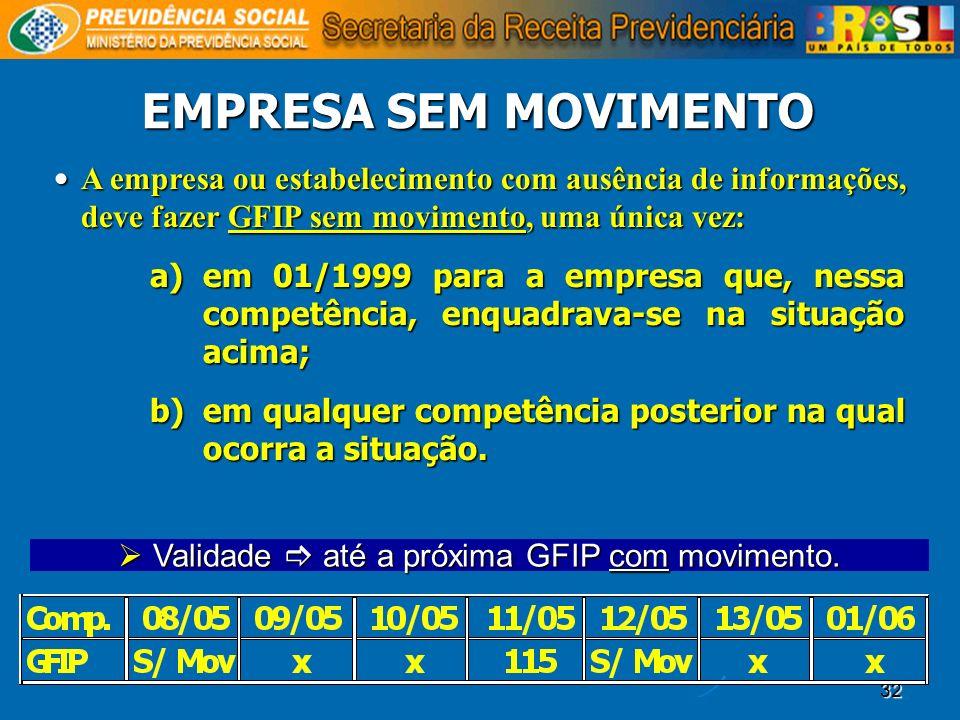 Validade  até a próxima GFIP com movimento.
