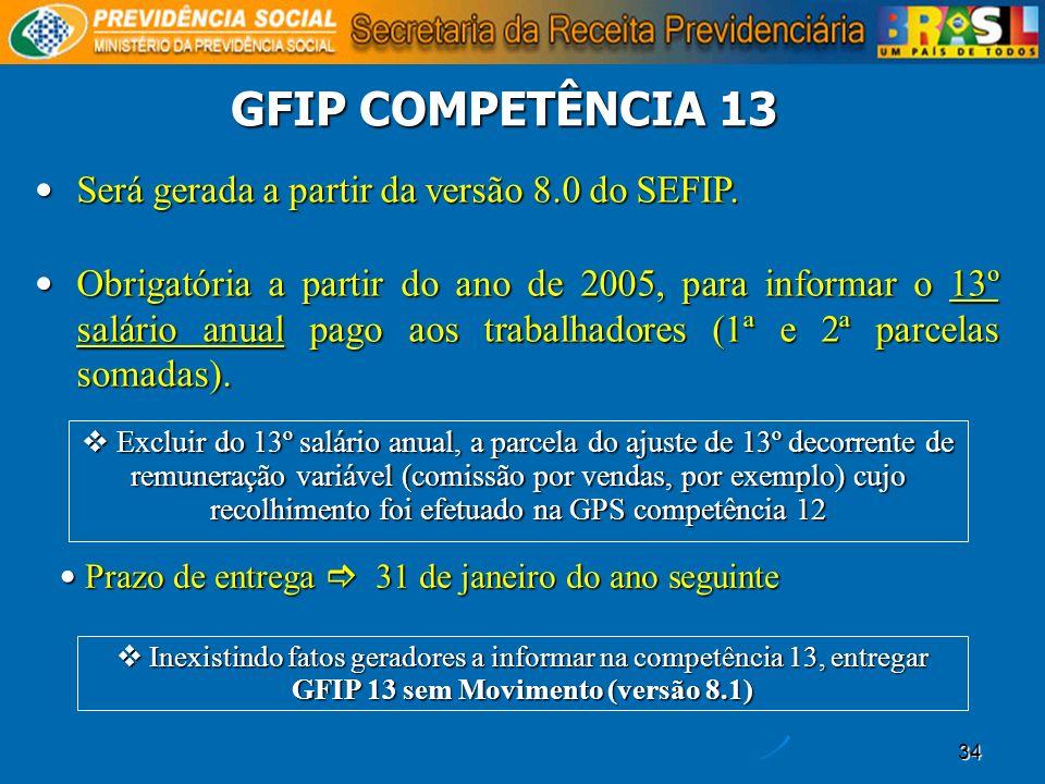 GFIP COMPETÊNCIA 13 Será gerada a partir da versão 8.0 do SEFIP.