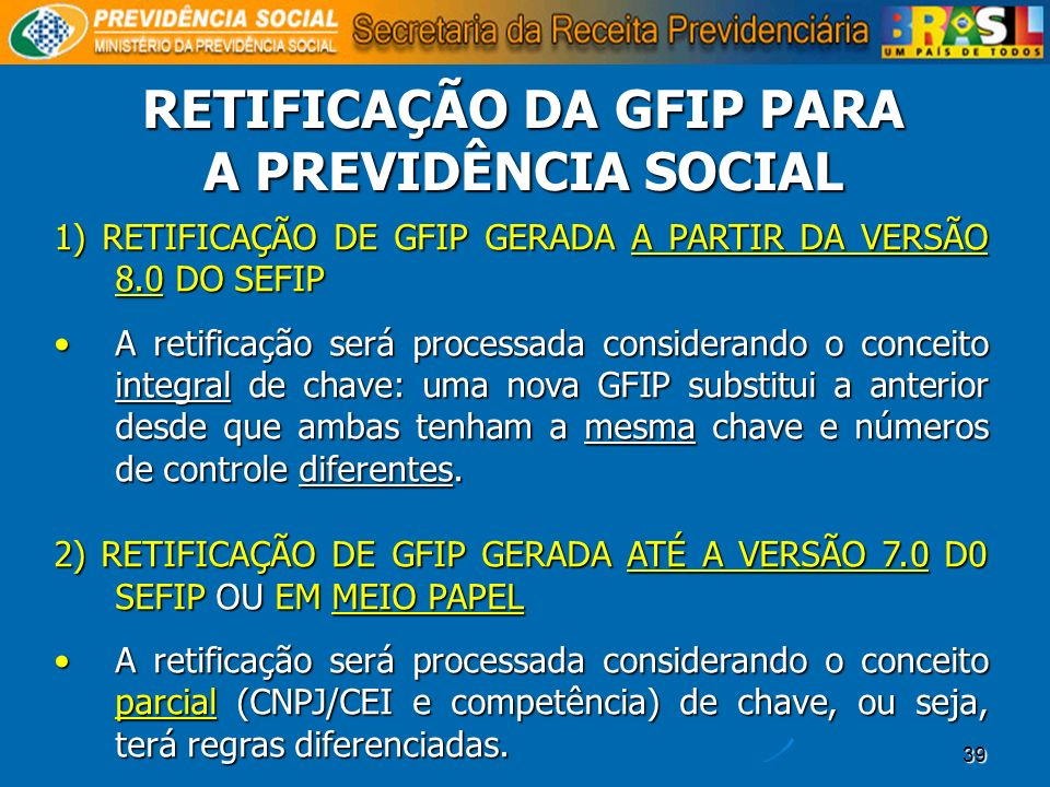 RETIFICAÇÃO DA GFIP PARA A PREVIDÊNCIA SOCIAL