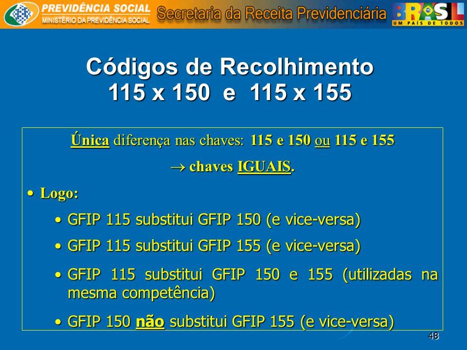 Códigos de Recolhimento 115 x 150 e 115 x 155