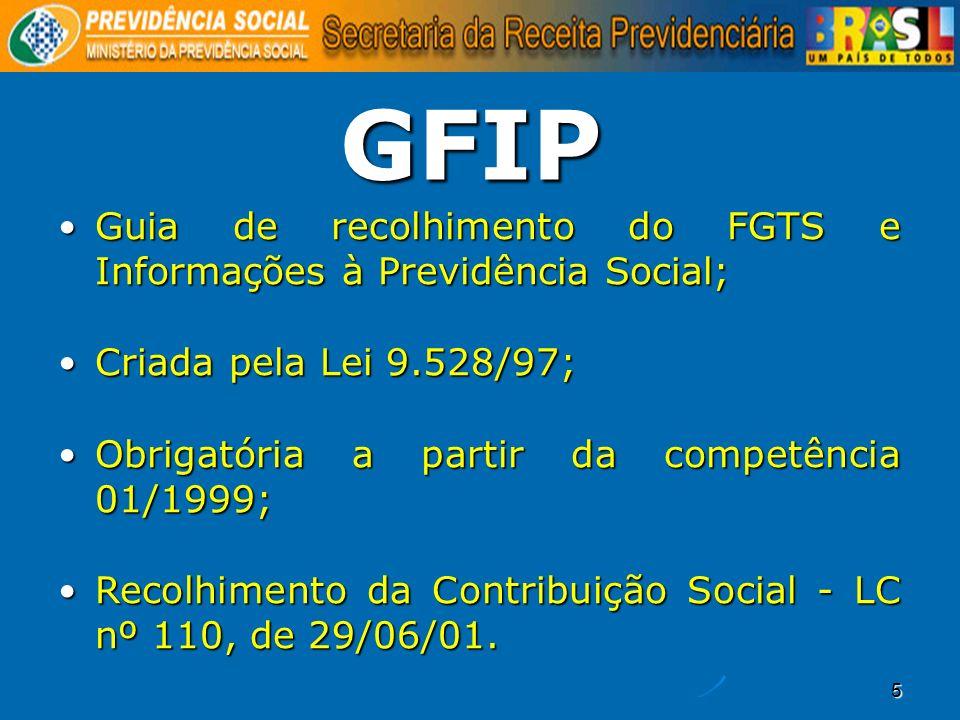 GFIP Guia de recolhimento do FGTS e Informações à Previdência Social;