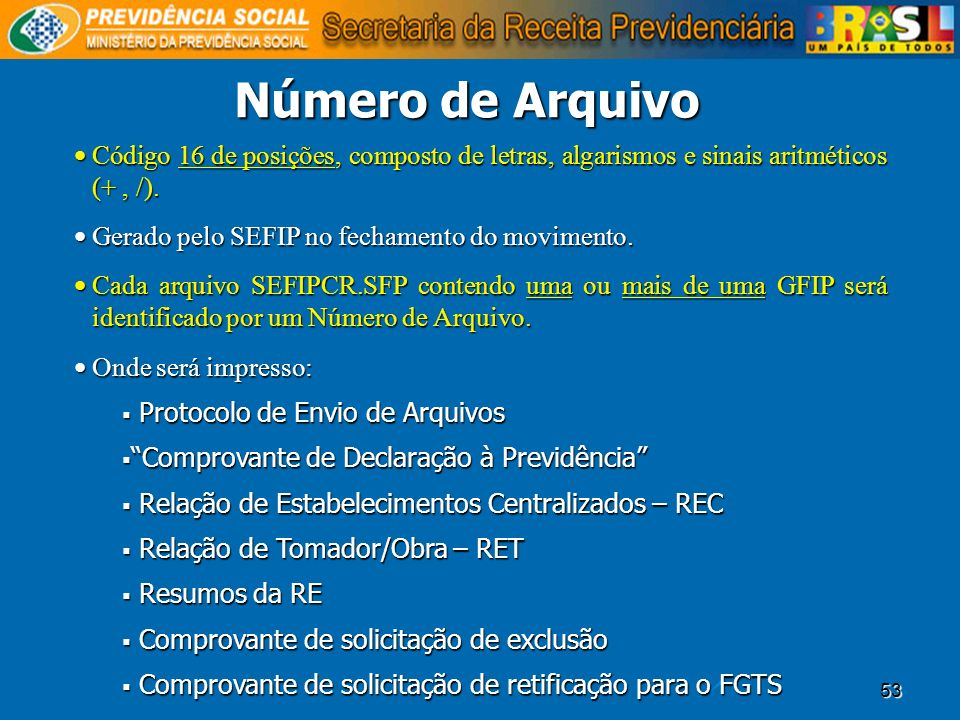 Número de ArquivoCódigo 16 de posições, composto de letras, algarismos e sinais aritméticos (+ , /).