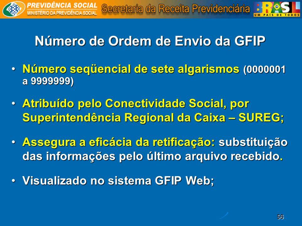 Número de Ordem de Envio da GFIP