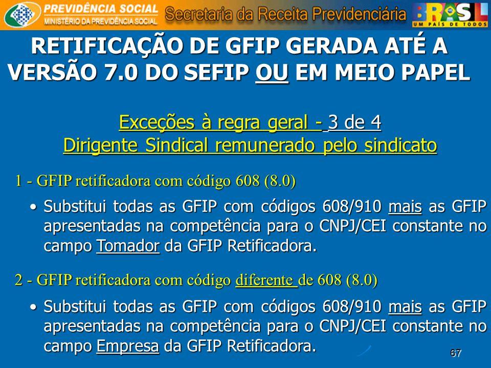 RETIFICAÇÃO DE GFIP GERADA ATÉ A VERSÃO 7.0 DO SEFIP OU EM MEIO PAPEL