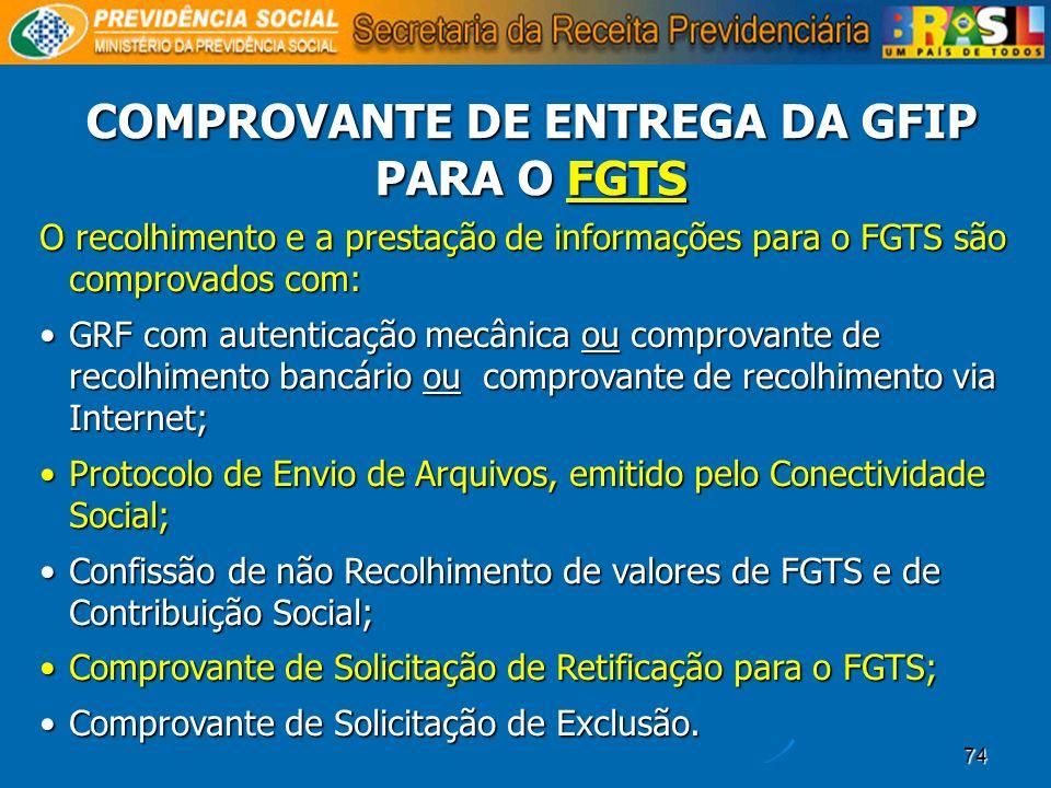 COMPROVANTE DE ENTREGA DA GFIP PARA O FGTS